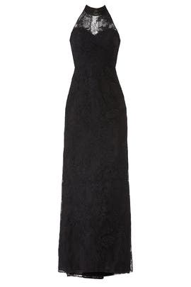 Black Lace Column Gown by Badgley Mischka