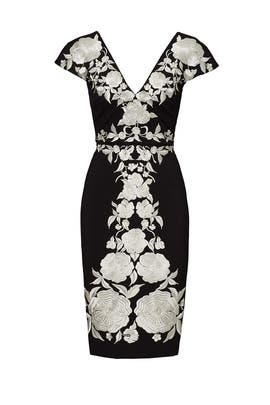 Black Embroidered Floral Dress by CATHERINE DEANE