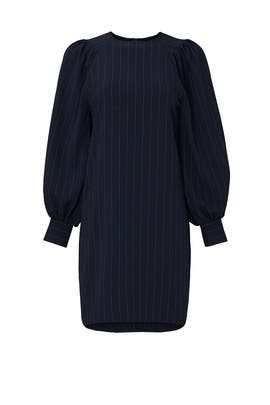 Navy Striped Long Sleeve Dress by GANNI