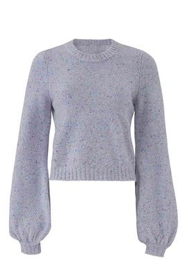 Tweed Barrel Sleeve Sweater by Milly