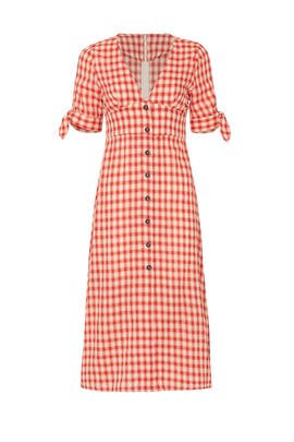 Red Gingham Button Front Dress by Moon River
