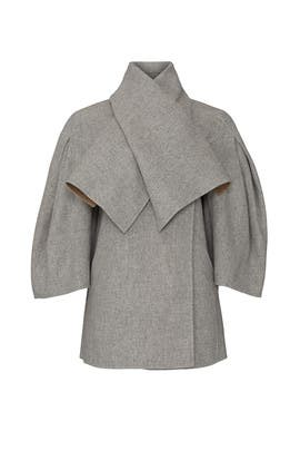 Grey Shawl Collar Wool Coat by TEIJA