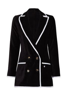 Black Double Breasted Toweling Blazer by BASK
