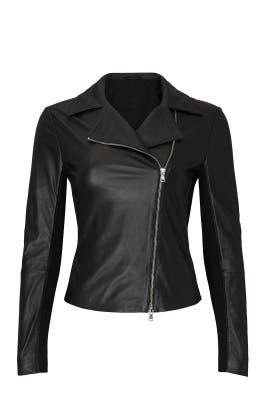 Jersey Paneled Leather Moto Jacket by Emporio Armani