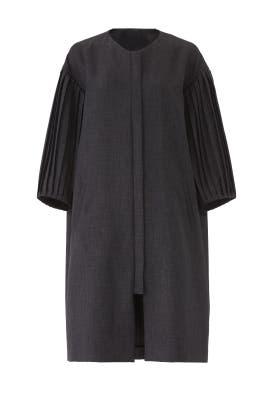 Grey Puff Sleeve Coat by Osman