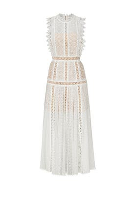 White Lace Panel Midi Dress by Self-portrait