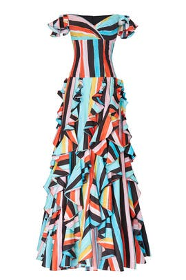 Rainbow Striped Ruffle Gown by CAROLINE CONSTAS