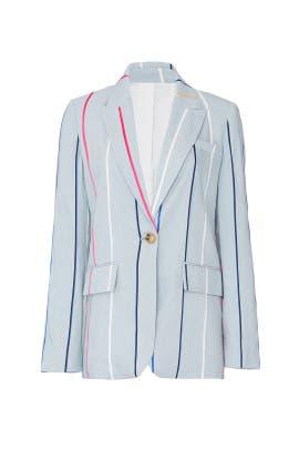 Blue Striped Single Button Blazer by Derek Lam 10 Crosby