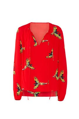 Red Keyhole Blouse by Diane von Furstenberg