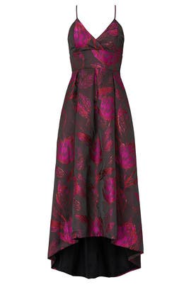 Floral Jacquard High Low Gown by Hutch