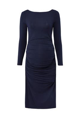 Navy Pleated Maternity Dress by Ingrid & Isabel