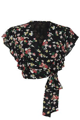 Black Floral Crop Top by Jill Jill Stuart