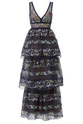 4c4a8e76243 Navy Floral Tiered Gown by Marchesa Notte for $165 - $180 | Rent the ...