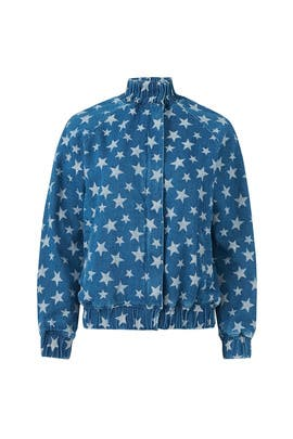 Star Print Denim Bomber by The Fifth Label