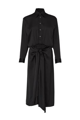 Black Bow Front Shirtdress by Tome