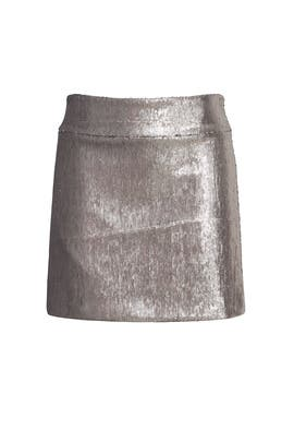 Silver Sequin Mini Skirt by Halston Heritage
