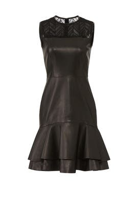 Leather Ruffle Hem Dress by Jason Wu Collection