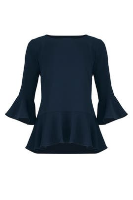 Flounced Navy Top by Sail to Sable