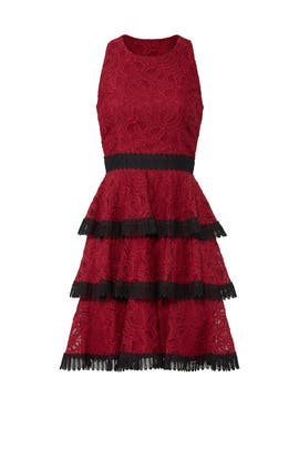Red Tiered Dress by Aidan Mattox