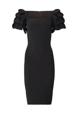 Black Ruffle Shoulder Sheath by Badgley Mischka
