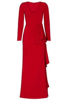 Red Front Ruffle Gown by Badgley Mischka