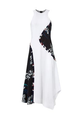 White Floral Colorblock Dress by Cedric Charlier