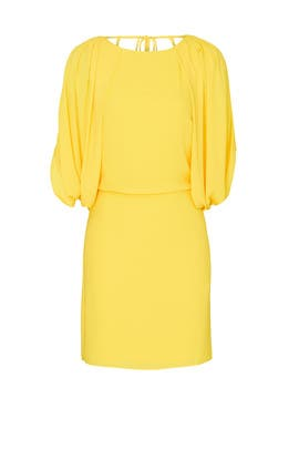 Cape Sleeve Open Back Dress by HALSTON