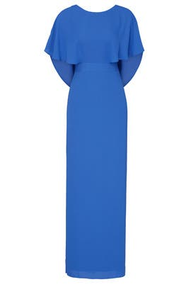 Azure Cape Sleeve Gown by HALSTON