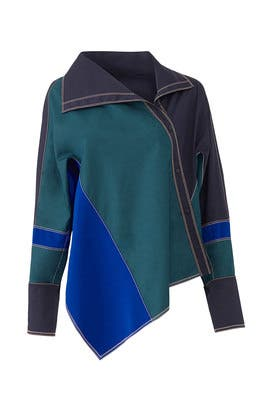 Colorblock Asymmetric Shirt by Peter Pilotto