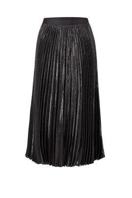 Black Lurex Pleated Skirt by Diane von Furstenberg