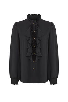 Black Ruffled Blouse by ella moss