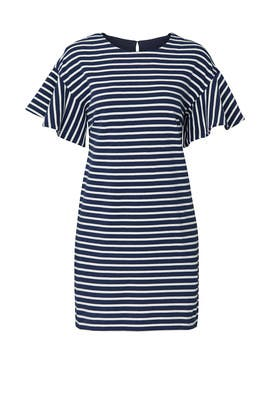 Striped Flutter Sleeve Dress by KINLY