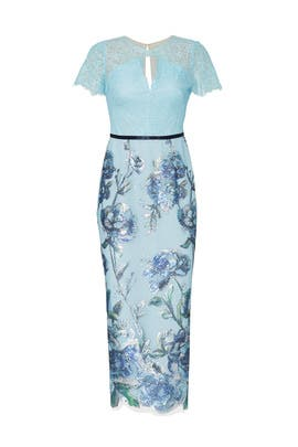 Blue Artwork Sequin Dress by Marchesa Notte
