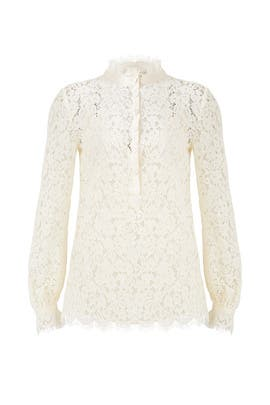 Cream Georgia Lace Top by Rachel Zoe