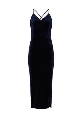 Navy Velvet High Slit Dress by BARDOT