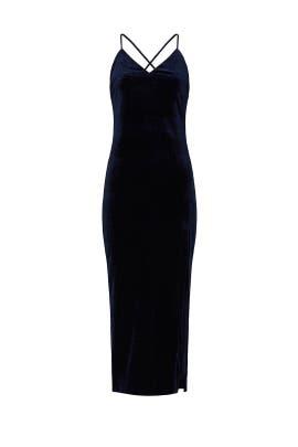 Navy Velvet High Slit Dress by BARDOT