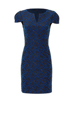 Blue Victoria Jacquard Dress by 4.collective