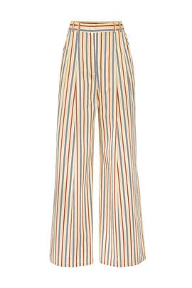Yellow Stripe Pants by Jil Sander Navy