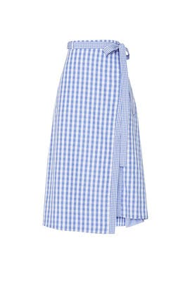 Gingham Wrap Midi Skirt by Thakoon Collective
