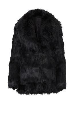 Premium Black Faux Fur Coat by Unreal Fur