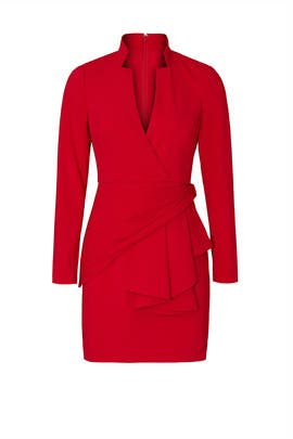 Red V-Neck Suit Dress by Badgley Mischka