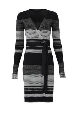 Metallic Striped Wrap Dress by Diane von Furstenberg