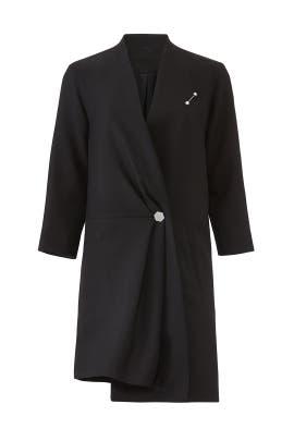 Black Wrap Gather Coat by Osman