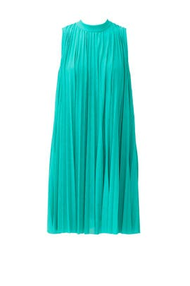 Green Pleated Swing Dress by Tracy Reese