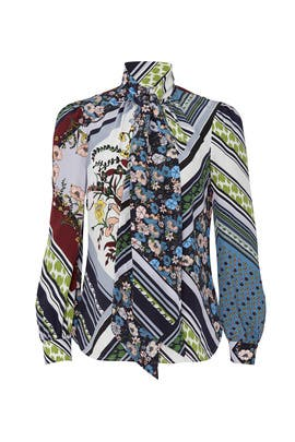 Patchwork Bow Blouse by Tory Burch