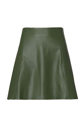 Green Leather Circle Skirt by VEDA