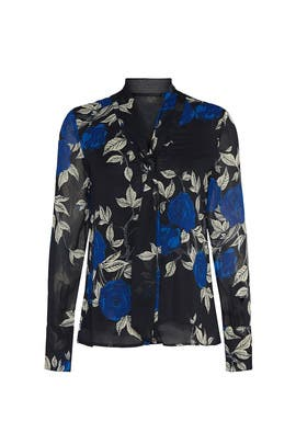 Blue Floral Tie Neck Blouse by Jason Wu Collective