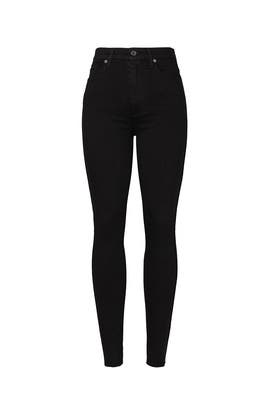 Black High Waisted Skinny Jeans by 7 For All Mankind