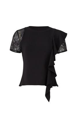 Black Ruffle and Lace Top by Slate & Willow