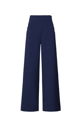 Button Detail Wide Leg Pants by Victor Alfaro Collective
